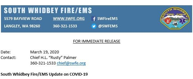 South Whidbey Fire/EMS Update on COVID-19